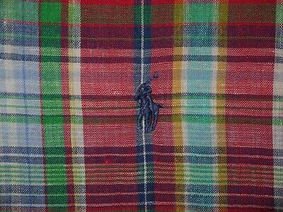 Mens EUC Red Plaid Polo Ralph Lauren Retro Linen L/S Button-Up Shirt size XL