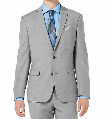 Bar III Mens Blazer Gray Size 40 Two Button Slim Fit Stretch Notch $425 #095