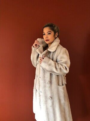Vintage 1970's Off-White Faux Fur Double Breasted Coat