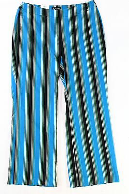 INC Women's Pants Blue Black Size 18W Plus Stretch Striped Wide Leg $89 #108