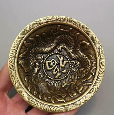 China Old copper hand-made wealth lucky Dragon plate bowl Home decoration /Wb02
