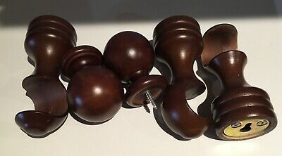 """3 Wooden Curtain Pole Cups 1 3/8""""  (1 for the middle) & 2 rod end pieces"""