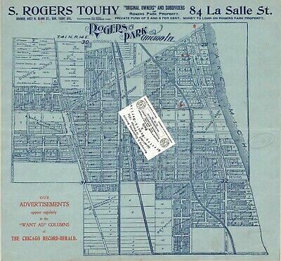 Chicago 1898 Map For Ancestry/Genealogy & History Research S. Rogers Touhy Map