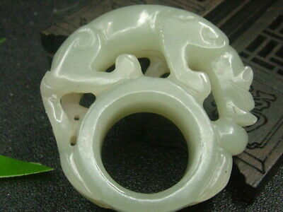 Antique Chinese Celadon Nephrite Hetian Jade Archer's Thumb Ring Tiger