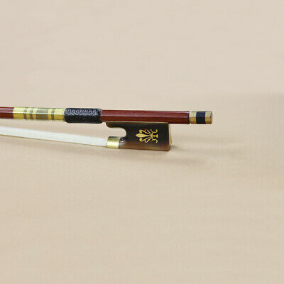 5 Star Pernambuco Violin Bow Gold Mounted Leather Grip 4/4 Size Ox-horn frog