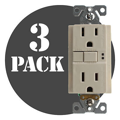 Hubbell Gfrst15Laz Commercial Gfci Receptacle, 15A, 120V, Lt. Almond, (3-Pack)
