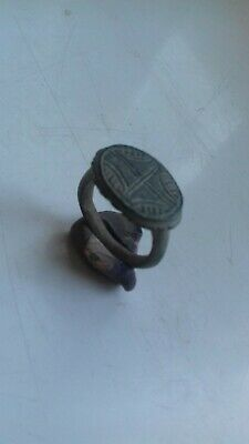 Ancient Roman Bronze Ring With A Cross