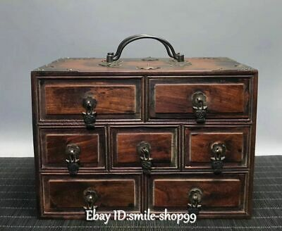 """8"""" China HuanghuaLi Wood Dynasty drawer asset Treasure Jewelry Box Case Cabinet"""