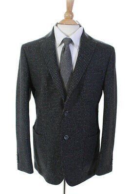Bugatchi Mens Long Sleeve Two Button Houndstooth Jacket Blazer Wool Size 42