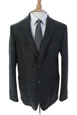 Bugatchi Mens Long Sleeve Two Button Houndstooth Jacket Blazer Wool Size 46