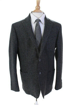 Bugatchi Mens Long Sleeve Two Button Houndstooth Jacket Blazer Wool Size 48