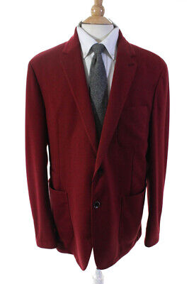 Bugatchi Mens Long Sleeve Two Button Solid Print Jacket Blazer Red Size 48
