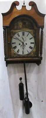 Victorian Oak Wall Mounted Clock by Jonathon Bentley, Llanelly, circa 1860.
