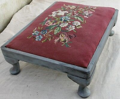 Painted and distressed Woolwork Footstool with cabriole legs.
