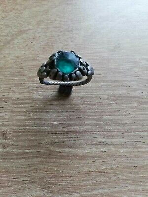 Very Nice Ancient Byzantine Silver Ring With Green Stone