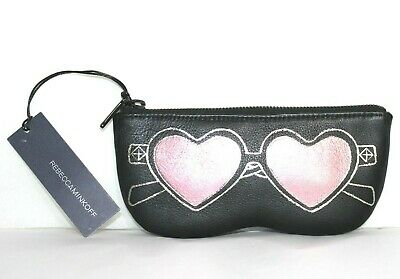 ❤️ REBECCA MINKOFF Heart Sunnies Sunglasses Black Leather Zip Pouch NEW! L@@K