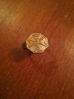 Extremely Fine Late Medieval Silver Ring With A Gilded Cross