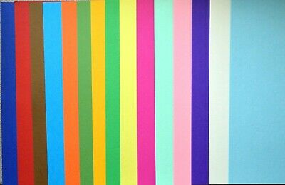 15 x A4 Sheets Assorted Coloured Card in 15 Shades 190gsm NEW