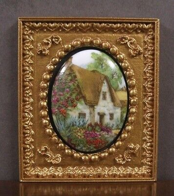 """FRAMED  FIRED  PORCELAIN  PICTURE ~ """"Cottage"""" ~Dollhouse ~ 1:12 scale ~ Room Box"""