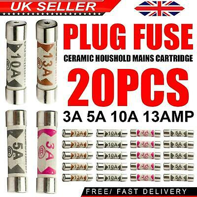 20 x Mixed Ceramic Household Domestic Fuses Mains Electrical Cartridge Plug UK