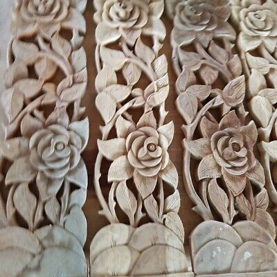 2x Teak Wood  Balcony Carved Panel Rose Flower Wall Sculpture Vintage Home Decor