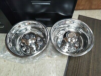 "Rear Wheel Stainless Simulators 10 Lug 5 Hand-Holes for 22.5"" Wheels PAIR"