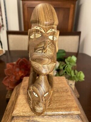 """Wood Carved 7"""" X 5"""" Figurine  with Mother Of Pearl Inlay Two Faces"""