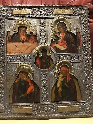 Antik Ikone Gottesmutter Large Russian Icon Mother Of God Many Panels