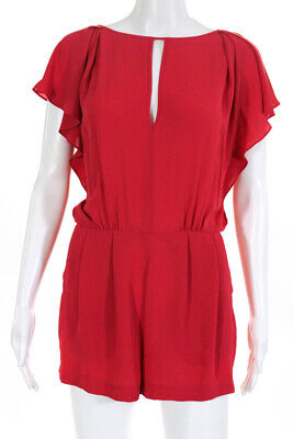 BCBG Max Azria Womens Sleeveless Ruffle Pleated Mini Jumpsuit Romper Red Size 2