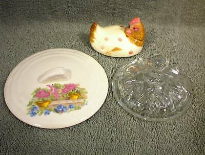 Vtg Lot X 3 Glass Ceramic Lid Chicken Floral Basket Lids Clear Patterned Small