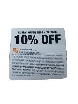 Home Depot Coupon 10% valid until 04/20/2020