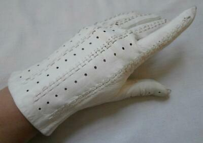 Vintage 1950's Ivory Kid Leather Woven & Perforated Detail Gloves Sz 7, M Narrow