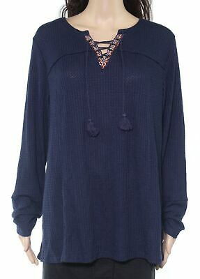 Style & Co. Women's Top Industrial Blue Size 2X Plus Embroidered $44 #122