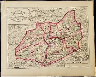 1876 antique COLUMBIA UNION SNYDER MONTOUR NORTHUMBERLAND MAP from Atlas of PA