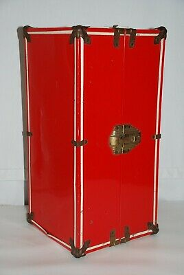 "Vintage 1950s Red Metal 16"" Doll Clothes Wardrobe Steamer Trunk Carrying Case"