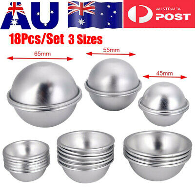 18Pcs DIY Mold Half Sphere Metal Bath Bomb Fizzy Craft Cake Candle Mould 3 Sizes
