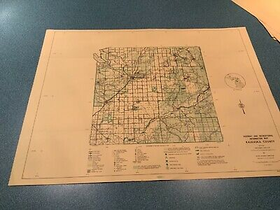 Vintage 1974 Kalkaska County Michigan DNR Highway Recreation Information Map