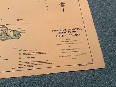 Vintage 1974 Alpena County Michigan DNR Highway Recreation Information Map