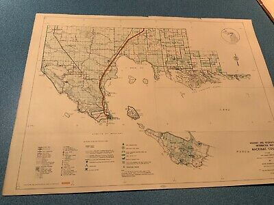 Vintage 1974 Mackinac County Michigan DNR Highway Recreation Information Map