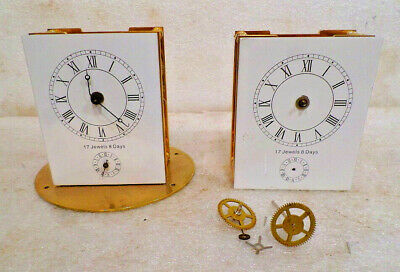 Two 24K Gold Plated Carriage Clock Alarm Movements With Dials For Parts/Repair