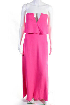BCBG Max Azria Womens Alyse V Neck Strapless Gown Pink Size 10