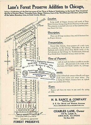 Chicago Antique 1923 Advert. Map: Lane's Forest Preserve Addition to Chicago