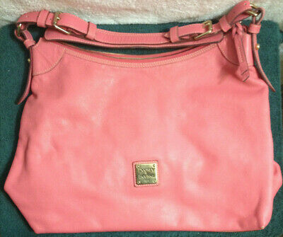 "Dooney & Bourke Chelsea Shopper Handbag Large Tote Bag Pink Leather euc 17""x 11"""