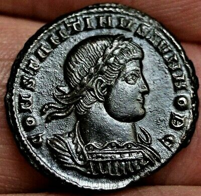 CONSTANTINE II, SOLDIERS Spears Legions 334/35 AD 18mm, 2.5g, Ancient Roman Coin