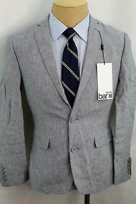 New 36S Bar III Slim Fit Gray 100% Linen Double Vent Sport Coat Blazer MA0