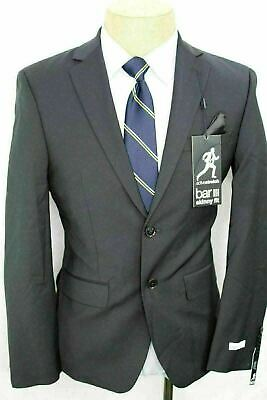 New 38S Bar III Skinny Fit Stretch Black Wool Sport Coat Blazer FE0