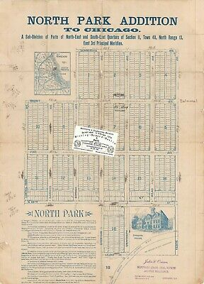 Chicago 1893 Map For Ancestry/Genealogy & History Research- North Park ADD