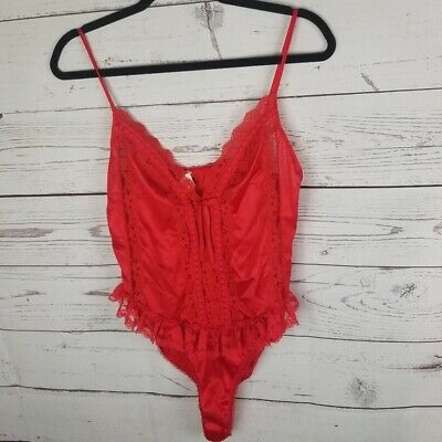 Vintage Red Lace Bodysuit Lingerie Womans Size Large Sexy High Thigh