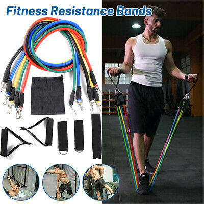 11Pcs Resistance Bands Workout Exercise Yoga Crossfit Fitness Training Tubes UK