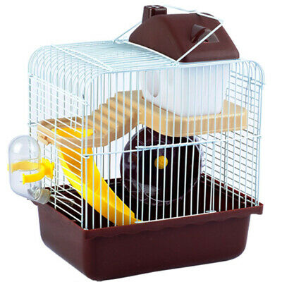2-Tier Hamster Cage Brown House Animal Play Home Rodent Gerbil Mice Mouse Cages